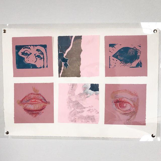 Lino cut, collage + oil pastel