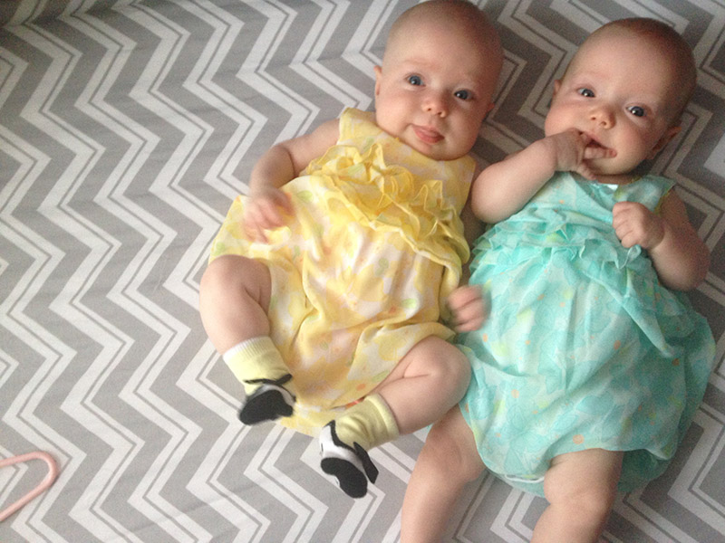 Five months later, those tiny 3 pound, 13 ounce girls are now these adorable little babies.