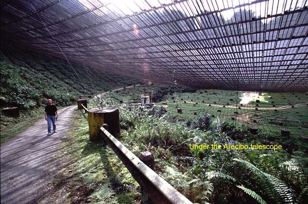Arecibo radio telescope under the dish.jpg