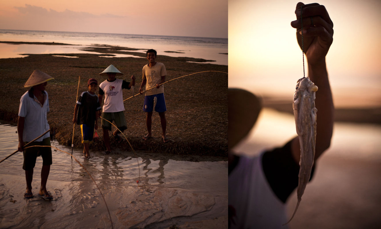fishing for octopus earlier tonight. Lombok, Indonesia