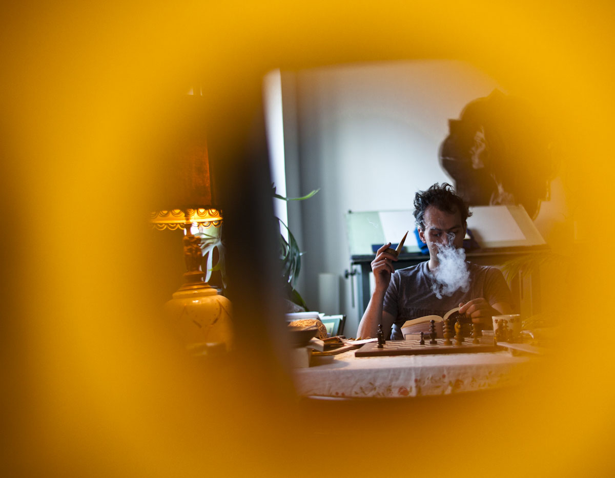 Matthew in his studio reading the Iliad
