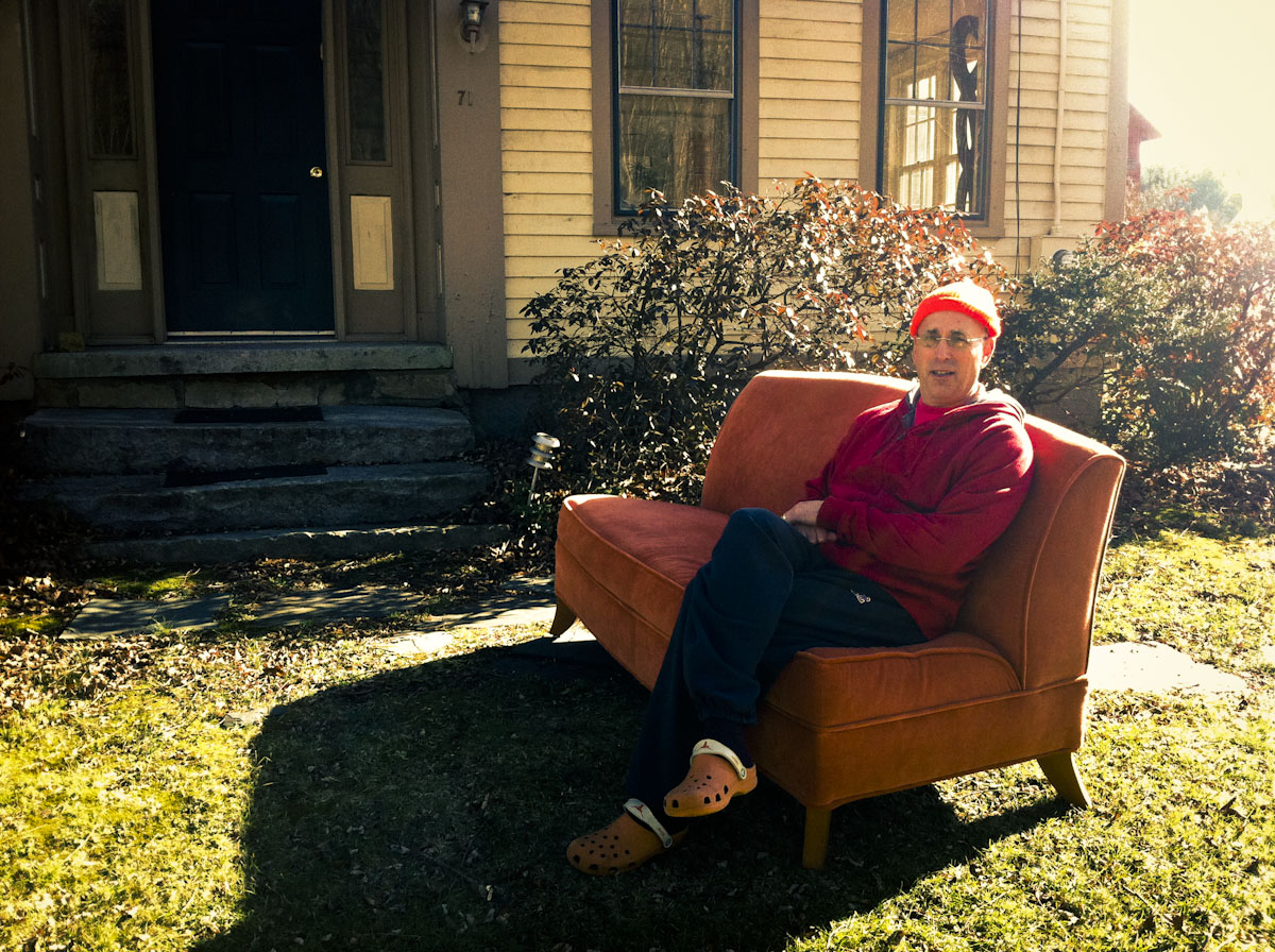 Dad takes a break during first quarter of the annual Thanksgiving couch move
