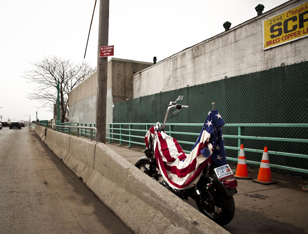 Joe's bike outside Cropsey Scrap Iron and Metal, Coney Island