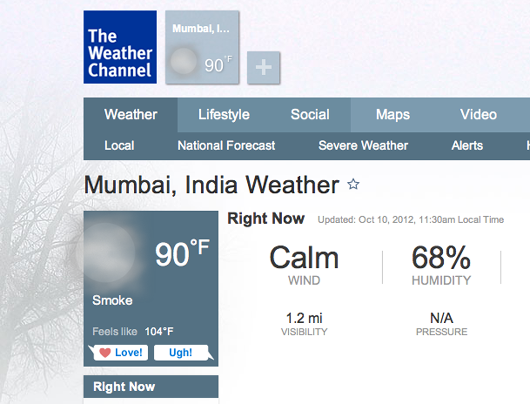 Heading to Mumbai tonight.  Forecast: smoke