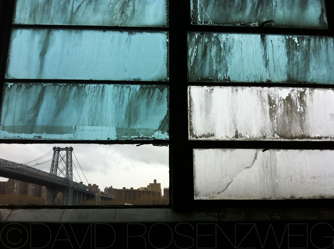 out the window at Domino Sugar factory