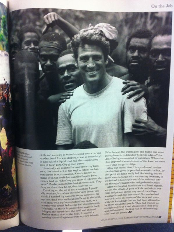 Photo I took of Ken with cannibals in Vanuatu running in the March/April issue of American Photo. Coincidentally I'm at the airport heading to St Vincent right now. Last time I was there I picked up my blog name, Rosenwing when our chauffeur from the Grenadine House was waiting for Mr Rosenwing and Mr Kochey. See my first tumblr post for the photo.