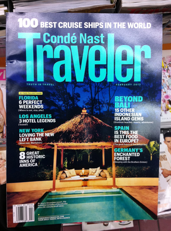 Ken's photo of my room at the Aman in Java on the cover of Conde Nast Traveler this month. Cool.