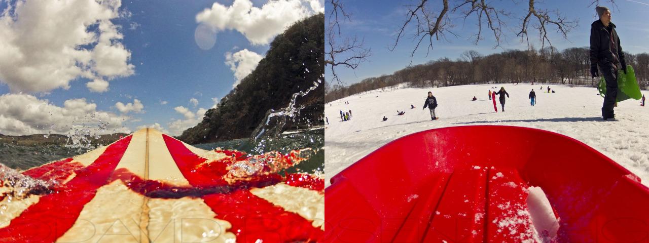 Surfing on Saturday and sledding on Sunday. ¡Sweet fin de semana!