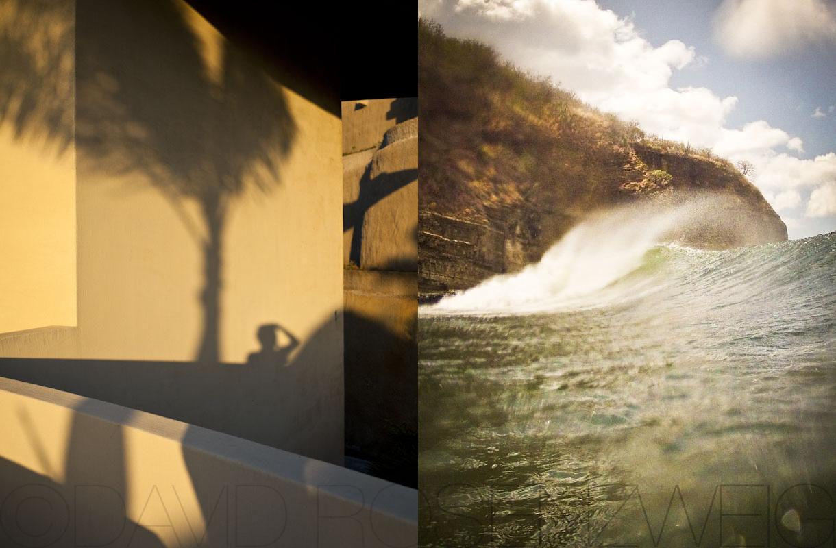 Morning shadows and wave, Nicaragua