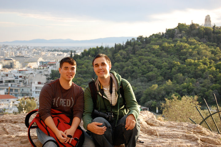 In 2009, one year into the relationship in Athens, Greece.