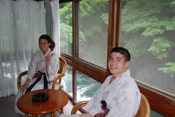 My brother and sister preparing for a dip in the onsen.