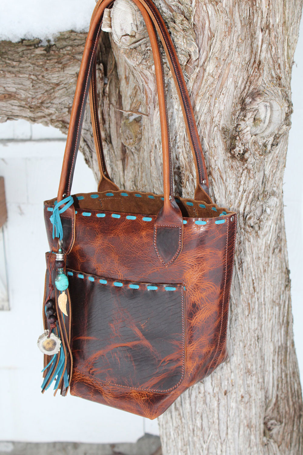 Emery Hill Tote - Bergland Bison/Turquoise Handstitching
