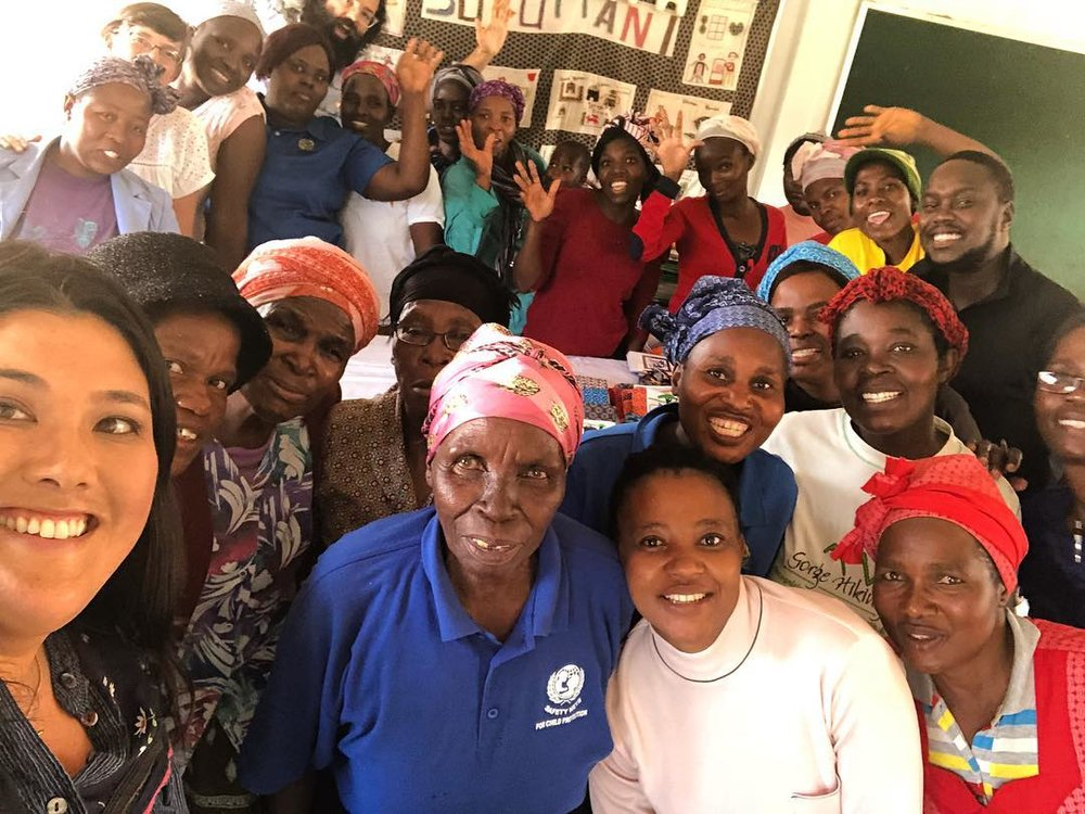 Christina with the women of Sukumani in August 2018