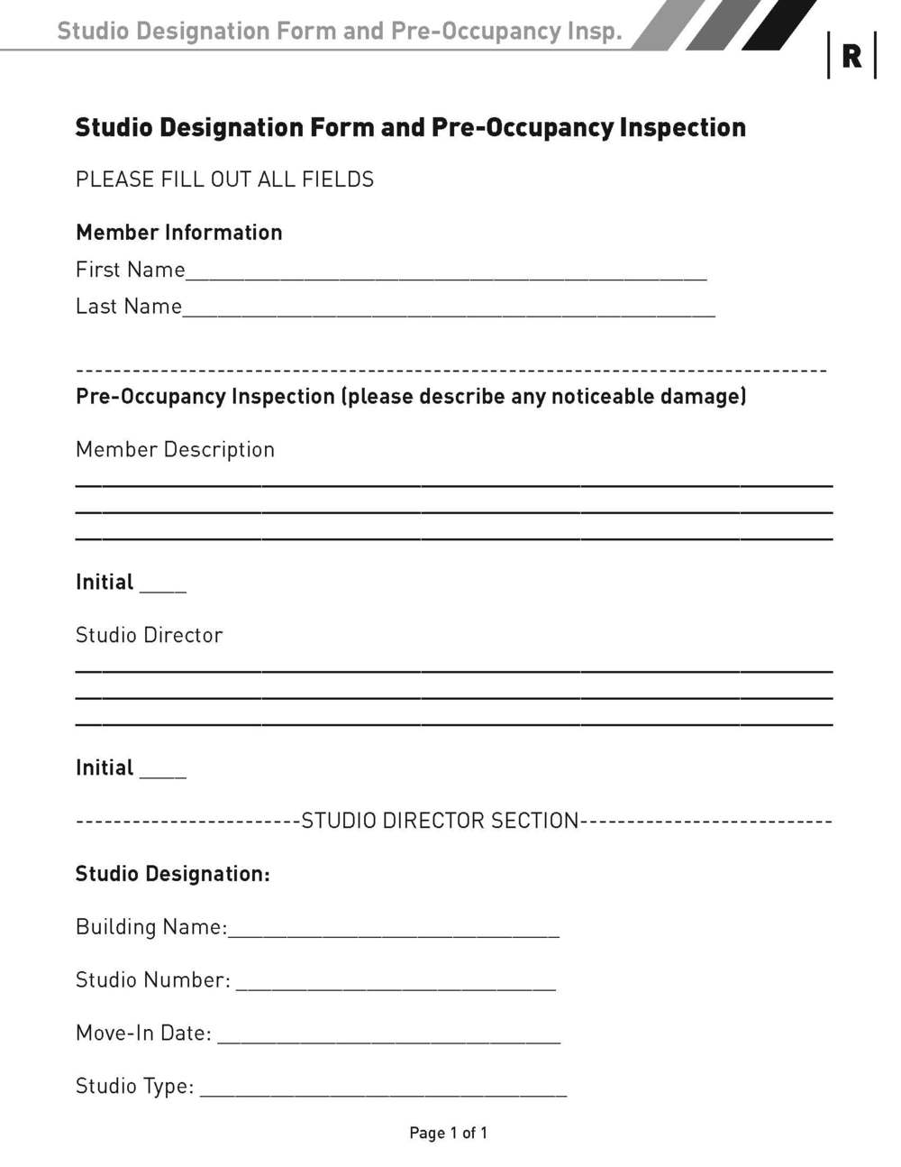 Studio Designation Form and Pre-Occupancy Inspection