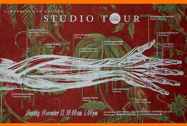 STUDIO TOUR #1 — 2005   I was asked by my friend James Church if I would design the first poster for the tour. He along with Mary Coleman and Ron Donoughe ran the tour in those early years. I had this idea to use this Gray's Anatomy illustration of the arm to represent Butler Street... marking different veins along the arm as the artist's studios. That part wasn't very accurate. It was just meant to get that point across.  PRINTING PROCESS white silkscreen onto wall paper. I chose 6 different patterns of wallpaper so that the artists could choose the one that suited their personality the best.