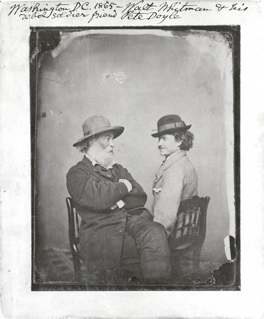 "This is the first extant photo (c. 1869) of Whitman with anyone else, here Peter Doyle, Whitman's close friend and companion in Washington. David Dietcher, guest curator of ""Dear Friends: American Photographs of Men Together, 1840-1918"" at the International Center of Photography, notes: ""The introduction of photography to the United States in 1840 coincided with a surprisingly broad-minded attitude toward same-sex intimacy. Thanks initially to the pioneering efforts of feminist historians, we now know that nineteenth-century American men and women were in many ways encouraged to establish intense, even passionate, bonds with members of their own sex... Male friendship in a variety of social guises was always encouraged in American culture, especially as masculinity was distinguished from the separate sphere of conventionally feminine roles and pursuits.""  Image source:  http://www.whitmanarchive.org/multimedia/image033.html?sort=year&order=ascending&page=4  Quotation source:  http://museum.icp.org/museum/exhibitions/dear_friends/intro2.html"