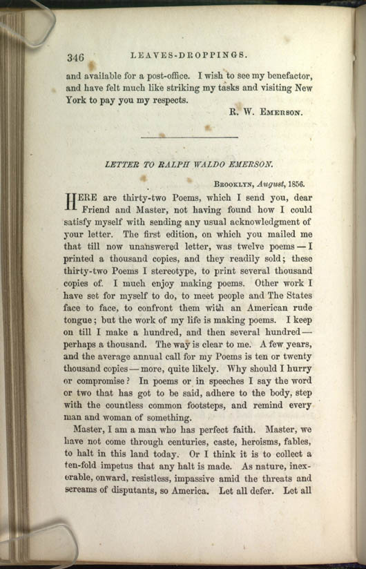 Beginning of the Poem: 1856 Leaves of Grass (Letter to Emerson)
