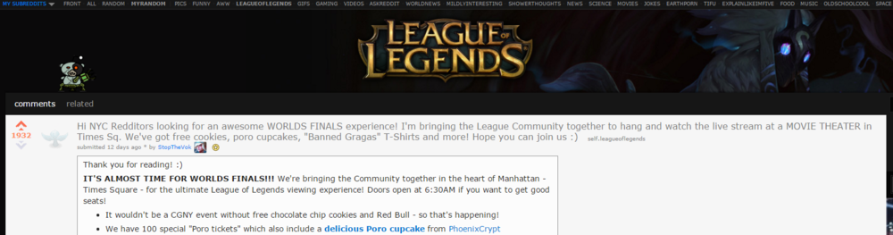 Thank you /r/leagueoflegends for your support! We <3 you guys!