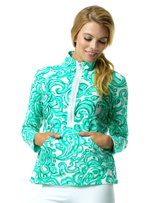 Bundle up on breezy beach nights with our   Sylvia Top.   Its vibrant, exotic pattern welcomes warm weather and summer fun! Equipped with front pockets and quarter zip design, this sweatshirt can easily become a staple piece due to its versatility.