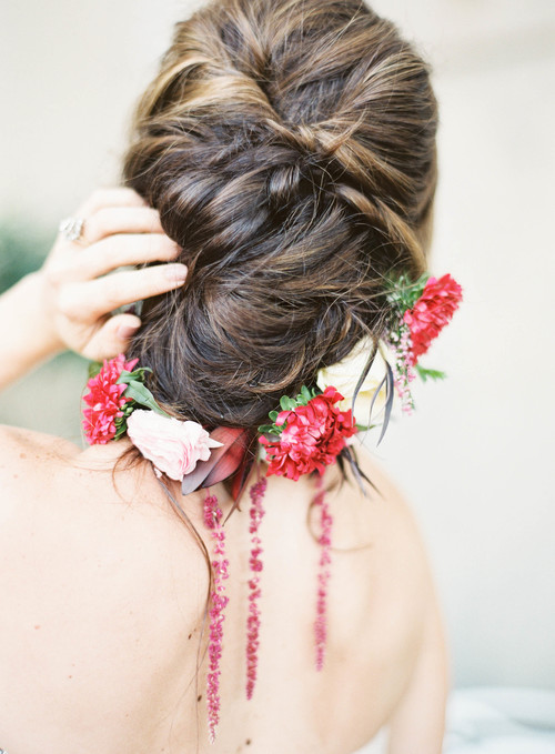 This hairstyle is gorgeous, with or without the floral accents! | Hair:  Hair by Ginger  |  Photo Credit :  Marissa Lambert Photography