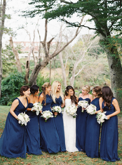 Nautical wedding style mix & match bridesmaid dresses by  Amsale . |  Photo  by  Judy Pak  via  Style Me Pretty