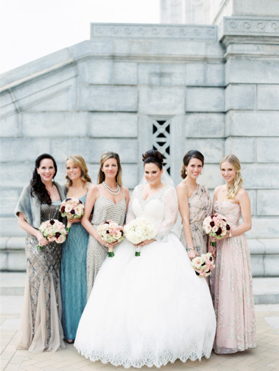 Embellished mismatched bridesmaid dresses add a glamorous and sophisticated touch to this wedding. |  Photo  by  Clary Pfieffer Photography  via  Style Me Pretty