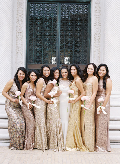 Let your bridesmaids choose different colors in metallic for a glam mix & match look. |  Photo  by  Jose Villa Photography  via  Style Me Pretty