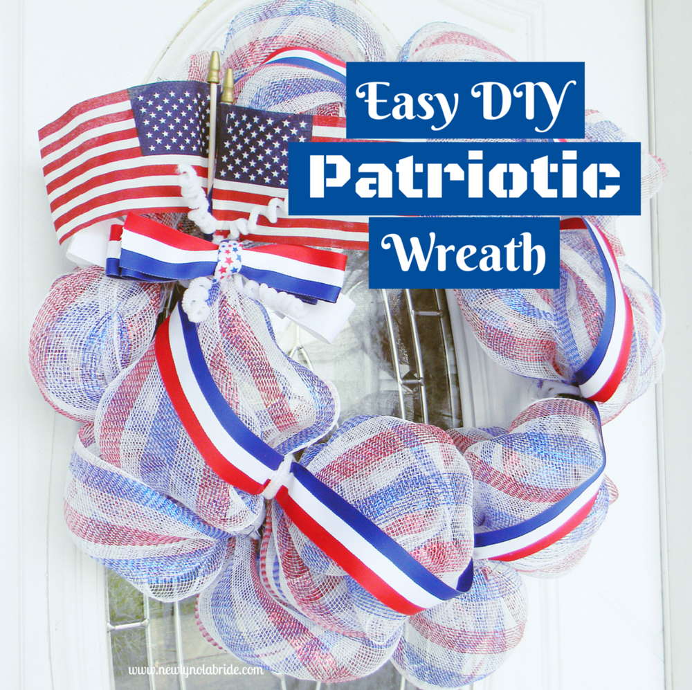 DIY patriotic Memorial day, Labor day, 4th of July wreath.  Easy to make!