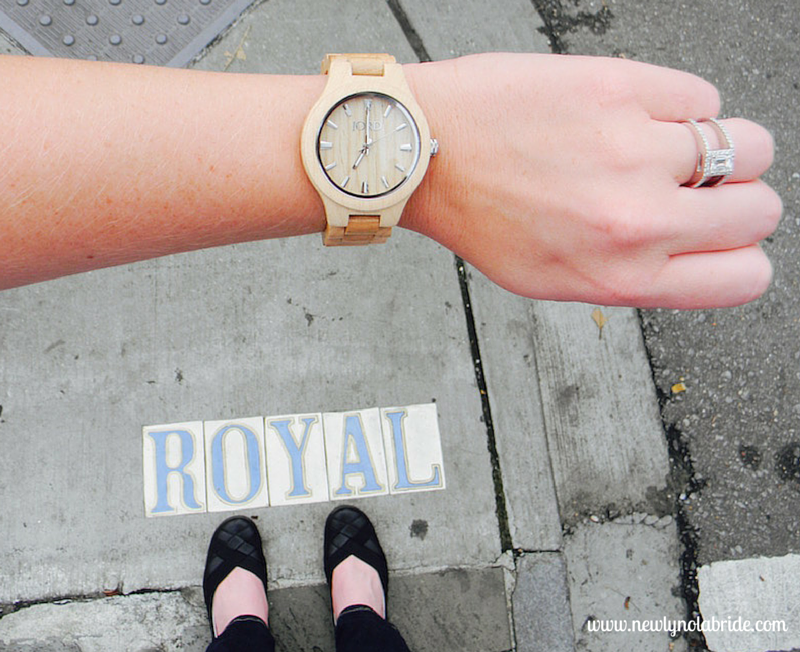 Jord Wooden Watches are unique, eco-friendly, and make perfect gifts for any bride.  Here, I paired my watch with a white tank, jeans, and black flats while strolling Rue Royal in the French Quarter.