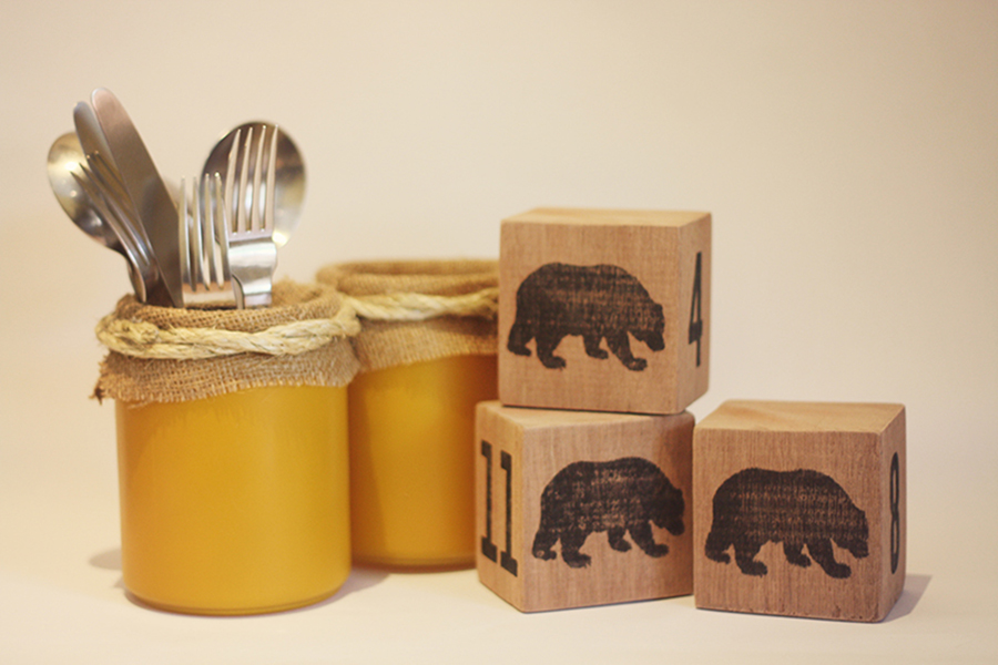 Handmade utensil jar and wooden numbered blocks