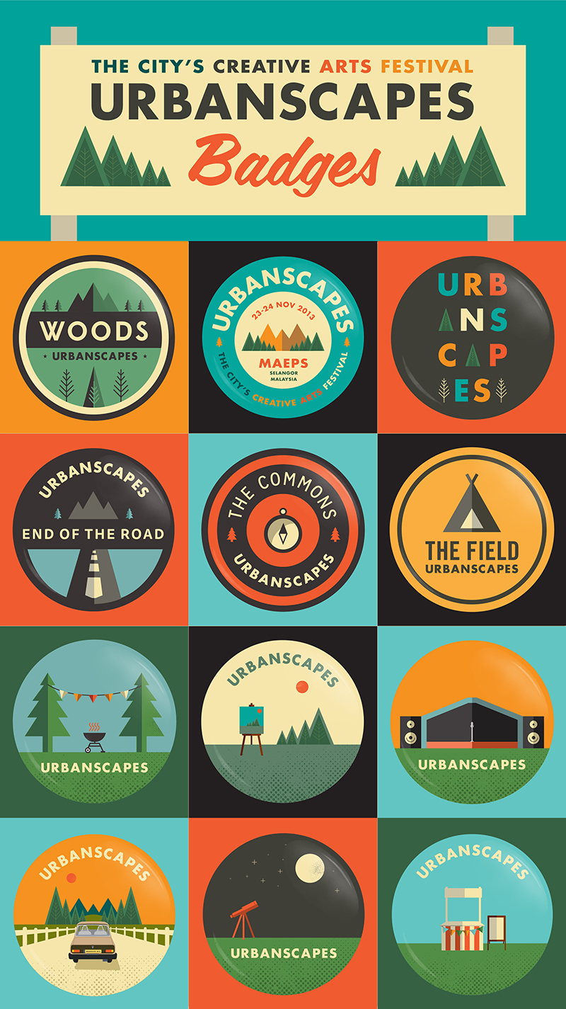 Urbanscapes pack of 12 badges