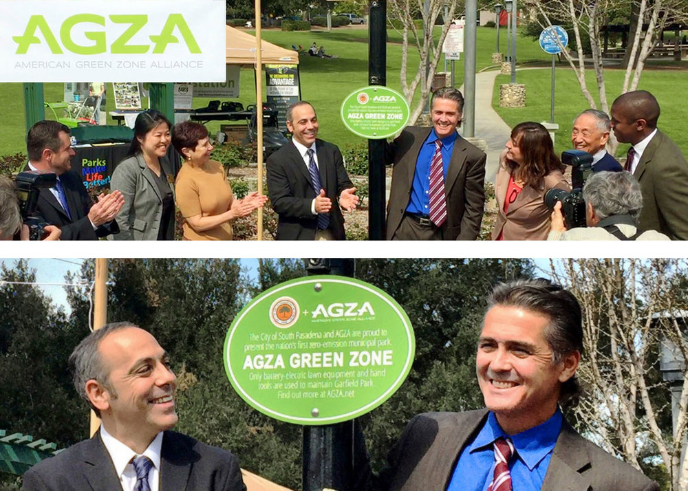 AGZA founder and president Dan Mabe (L) and South Pasadena Councilmember Michael Cacciotti (R), flanked by key partners from the City of South Pasadena,     dedicate South Pasadena's Garfield Park as the nation's first AGZA Green Zone municipal park.