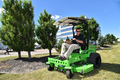 "Mean Green's industry-leading 60"" CXR zero-turn with S.A.M option (Solar Assisted Mower)."