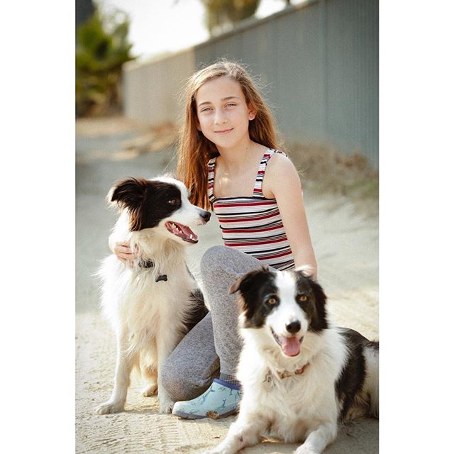 Trinity with her dogs, Luna and JJ.