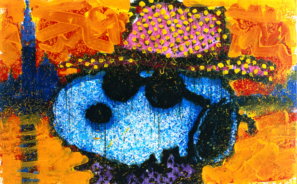 A Guy In Sharkskin Suit Wearing A Rhinestone Hat By Twilight | acrylic enamel and varnish on canvas | 64″ x 102″ | 1999