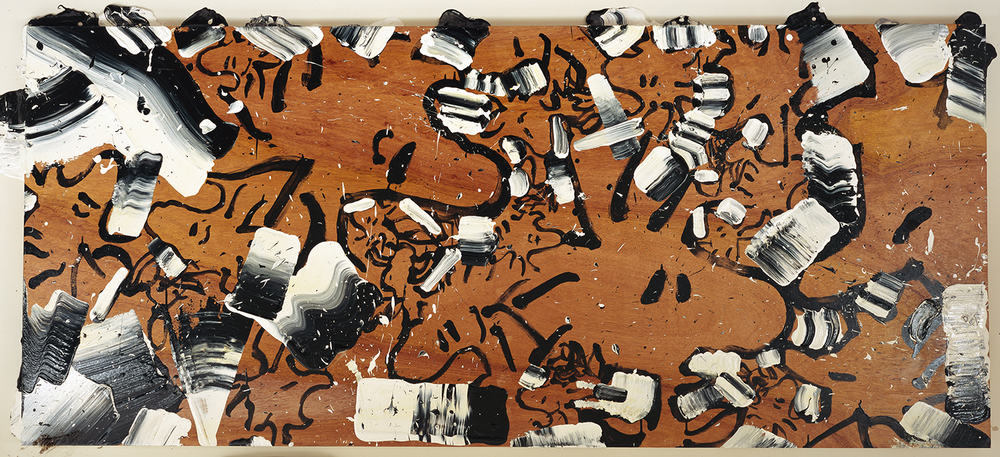Critics At L'Opera De La Merde D'Oiseau | acrylic and enamel on wood | 42″ x 96″ | 1999