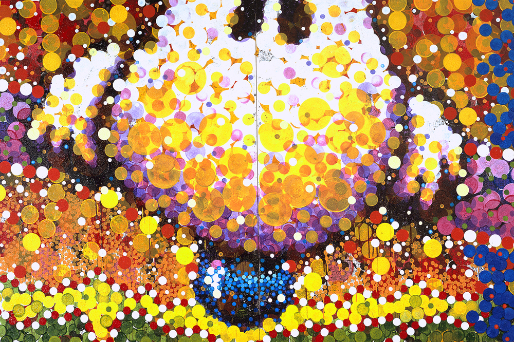 Bossa Nova On A Thin Branch | acrylic enamel and varnish on canvas | 84″ x 128″ | 2003