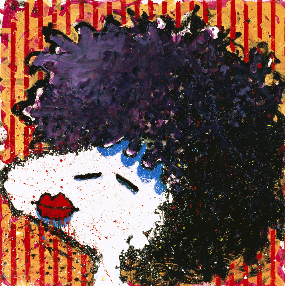 Bird Lips In A Black Velvet Wig | oil enamel acrylic and varnish on canvas | 64″ x 64″ | 1997