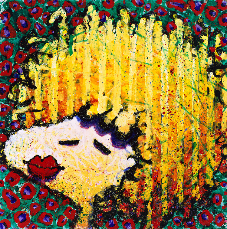 Bird Lips In A Blonde Bomb Shell Wig | oil enamel acrylic and varnish on canvas | 64″ x 64″ | 1997