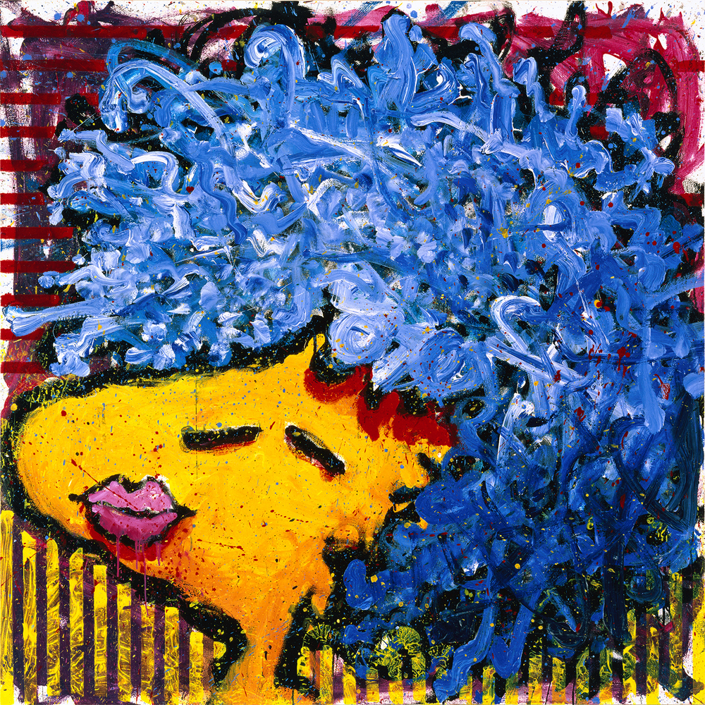 Bird Lips In A Blue Suede Wig | oil enamel acrylic and varnish on canvas | 64″ x 64″ | 1997