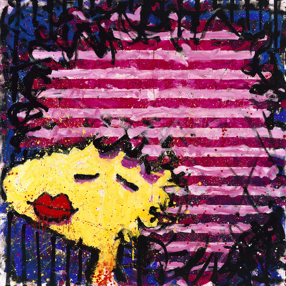 Bird Lips In A Pink Polyester Wig | oil enamel and acrylic on canvas | 64″ x 64″ | 1997