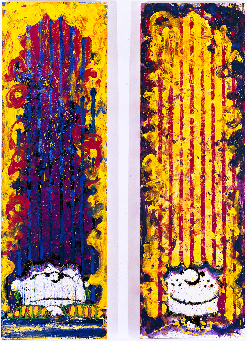 Just A Couple Of Babes From Baltimore | oil enamel acrylic and varnish on canvas | 96″ x 30″ (each panel) | 1997
