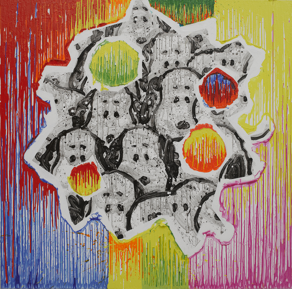 Pooch Paradise (Arty-Fact 011) | acrylic and varnish on canvas | 64″ x 64″ | 2011