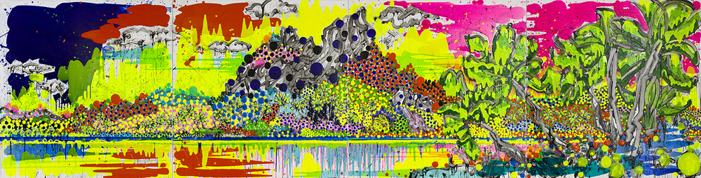 Chop Chop Chop | acrylic and varnish on canvas | 64″ x 256″ | 2014