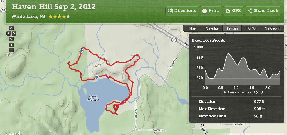 Haven Hill Hike Map 090212