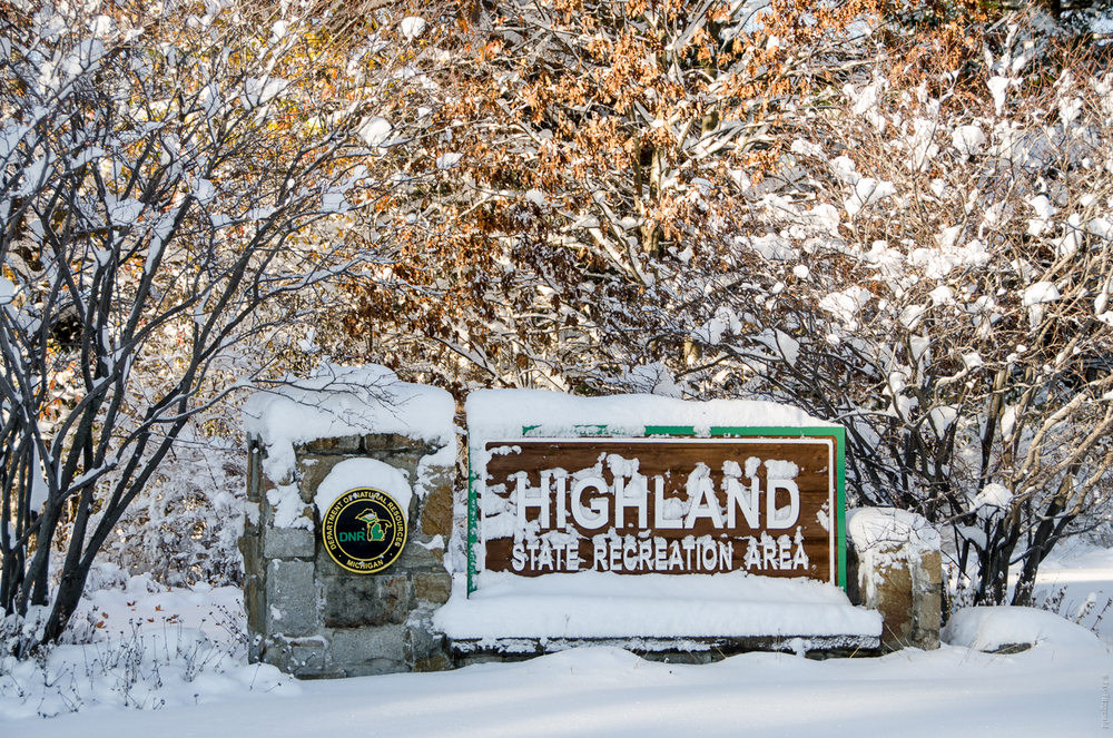 The Highland State Recreation Area sign covered with snow on November 21, 2015.
