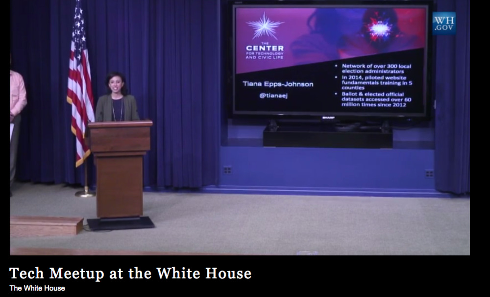 Tiana Epps-Johnson speaking at the White House Tech Meetup