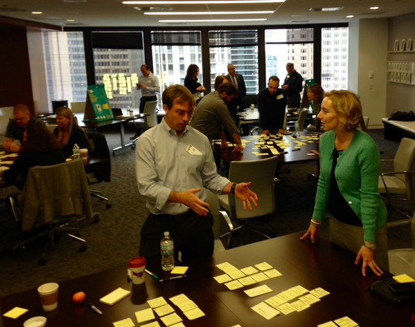 Election officials brainstorm and organize ideas for the Toolkit using sticky notes