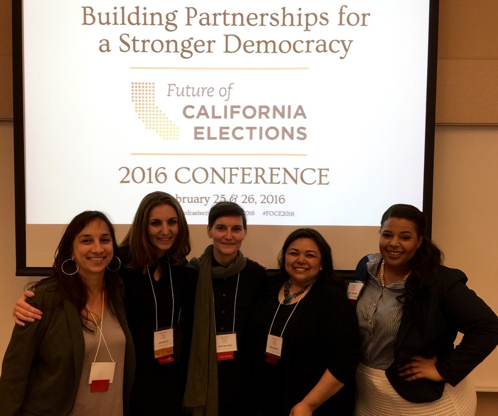 Karla Zombro, Jess Jollett, Whitney May, Eren Mendez, and Kenya Parham at the 2016 Future of California Elections conference in Los Angeles.