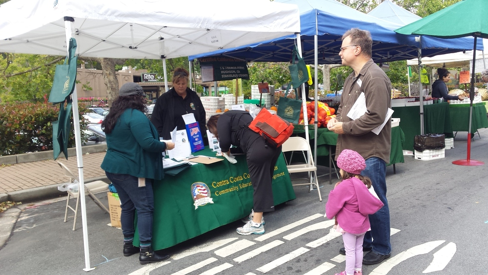 Staff members of Contra Costa's Civic Engagement and Education program register voters at a local farmers' market. Photo courtesy of Paul Burgarino and Contra Costa County.